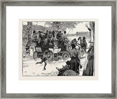 The Old Coaching Days Revived The London And Dorking Coach Framed Print by English School