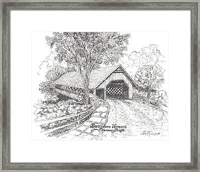 The Old Creamery Bridge Brattleboro Vt Pen Ink Framed Print
