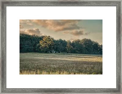 The Old Farm At Sunrise - Country Scene Framed Print by Jai Johnson