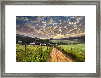The Old Farm Lane Framed Print by Debra and Dave Vanderlaan