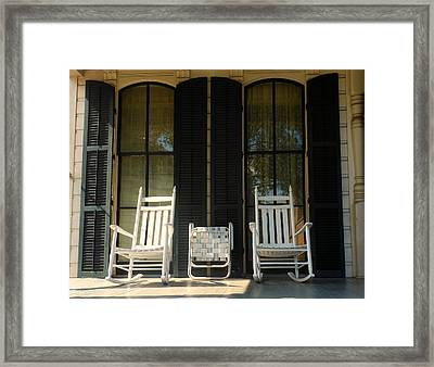 The Old Fronch Porch Framed Print by Sherry Dooley