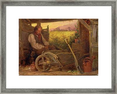 The Old Gardener Signed And Dated, Lower Right Br 1863 Framed Print by Litz Collection