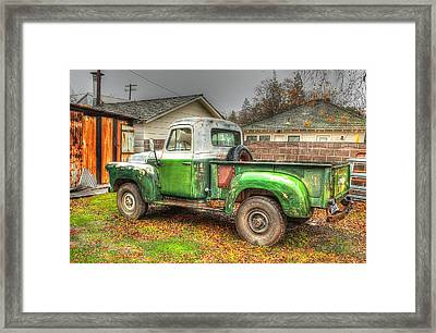 Framed Print featuring the photograph The Old Green Truck by Jim Thompson