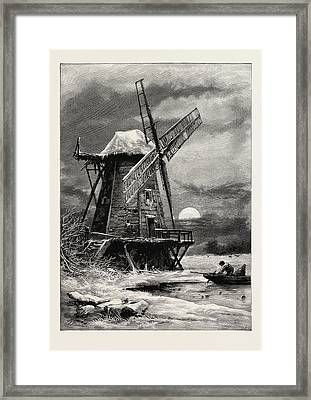 The Old Hampton Windmill, Scenery Of The Thames Framed Print by English School