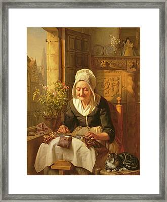 The Old Lacemaker Framed Print by JL Dyckmans