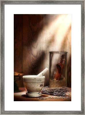 The Old Lavender Artisan Shop Framed Print by Olivier Le Queinec