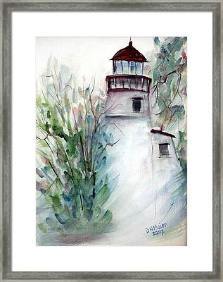 Framed Print featuring the painting The Old Lighthouse by Dorothy Maier