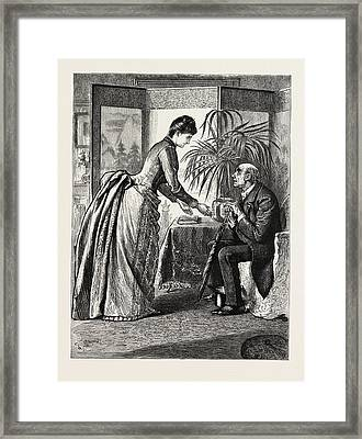 The Old Man And The Lady Framed Print by Du Maurier, George L. (1834-97), English
