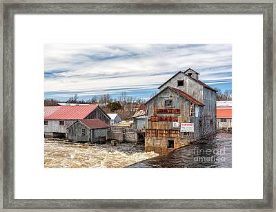The Old Mill And The Raging River Framed Print