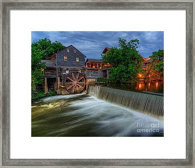 The Old Mill At Twilight Framed Print by Anthony Heflin