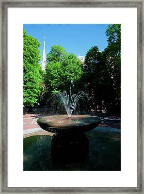 The Old North Church And Fountain Framed Print