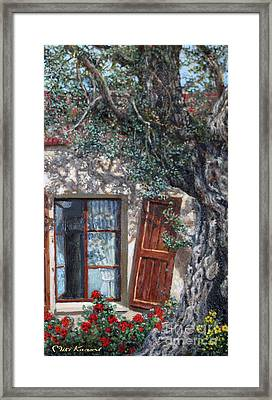 The Old Olive Tree And The Old House Framed Print by Miki Karni