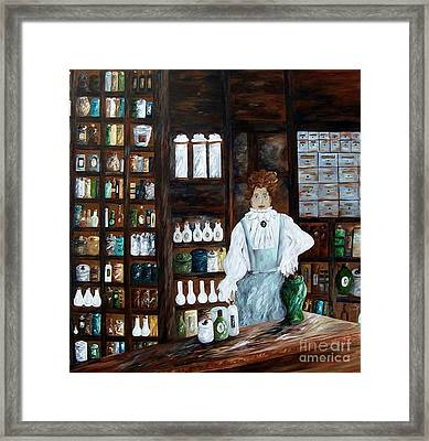 Framed Print featuring the painting The Old Pharmacy ... Medicine In The Making by Eloise Schneider