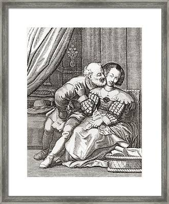 The Old Prurient, After A 16th Century French Engraving By Jaspar Isaac.   From Illustrierte Framed Print by Bridgeman Images