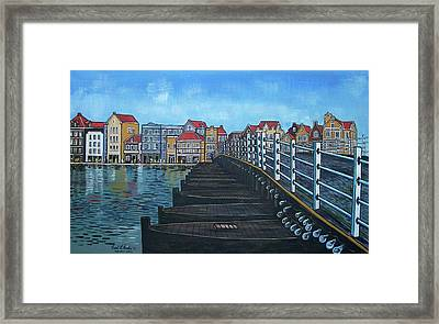The Old Queen Emma Bridge In Curacao Framed Print by Frank Hunter