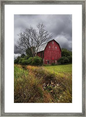 The Old Red Barn Framed Print by Debra and Dave Vanderlaan