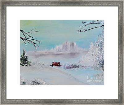 The Old Red Barn In Winter Framed Print by Alys Caviness-Gober