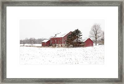 Framed Print featuring the photograph The Old Red Barn by Nick Mares