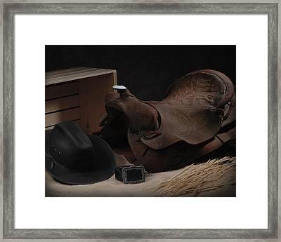 The Old Saddle Framed Print by Krasimir Tolev