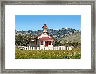 The Old San Simeon Schoolhouse In California With The Famous Hearst Castle In The Background. Framed Print by Jamie Pham