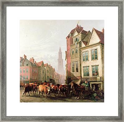 The Old Smithfield Market Framed Print by Thomas Sidney Cooper
