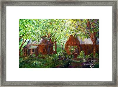 Framed Print featuring the painting The Old Swing Between The House And The Barn by Eloise Schneider