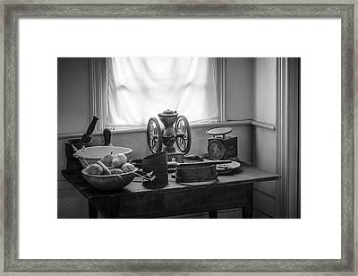 The Old Table By The Window - Wonderful Memories Of The Past - 19th Century Table And Window Framed Print