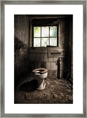 The Old Thinking Room - Abandoned Restroom And Toilet Framed Print