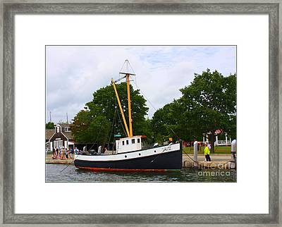 The Old Tugboat At Mystic Framed Print by Dora Sofia Caputo Photographic Art and Design