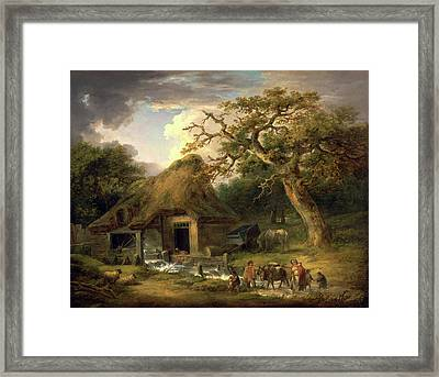 The Old Water Mill Rustic Family Passing A Watermill Signed Framed Print