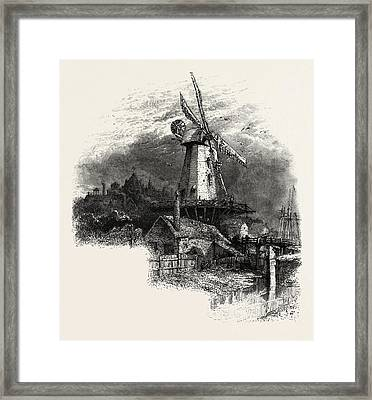 The Old Windmill At Rye, Kent, Uk, Britain Framed Print by English School