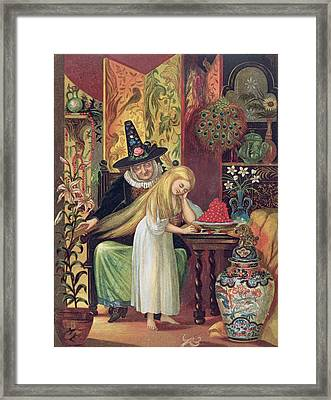 The Old Witch Combing Gerdas Hair Framed Print