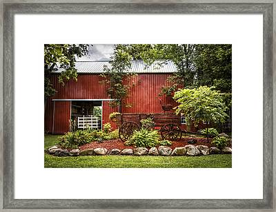 The Old Wood Cart Framed Print by Debra and Dave Vanderlaan