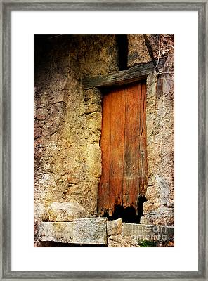 Framed Print featuring the photograph The Old Wooden Door by Jacqi Elmslie
