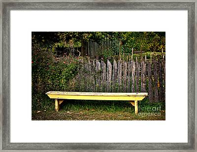 The Old Yellow Garden Bench Framed Print