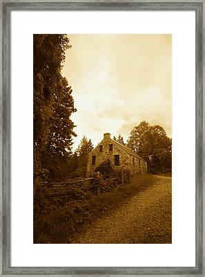 The Olde Stone Cottage Framed Print by Ron Haist