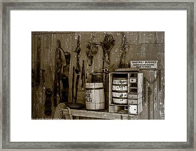 Framed Print featuring the mixed media The Ole Shop by Elaine Malott