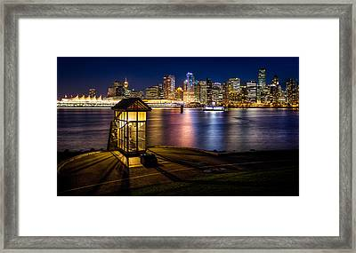 The Olympic Cauldron From Stanley Park In Vancouver Framed Print by Alexis Birkill