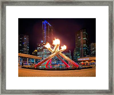 The Olympic Cauldron In Vancouver Framed Print