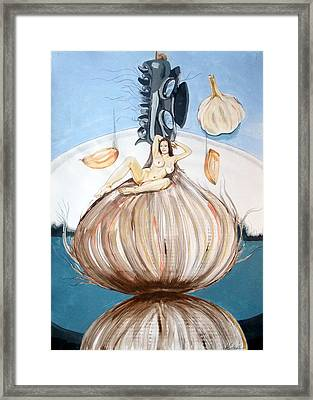 Framed Print featuring the painting The Onion Maiden And Her Hair La Doncella Cebolla Y Su Cabello by Lazaro Hurtado