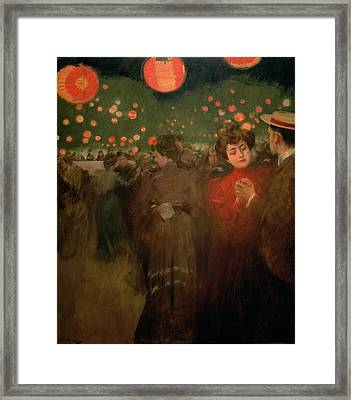 The Open Air Party Framed Print by Ramon Casas i Carbo
