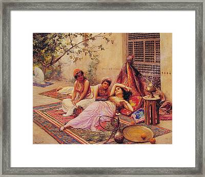 Framed Print featuring the painting The Open Market  - Bouchet - 1881 by Auguste Bouchet