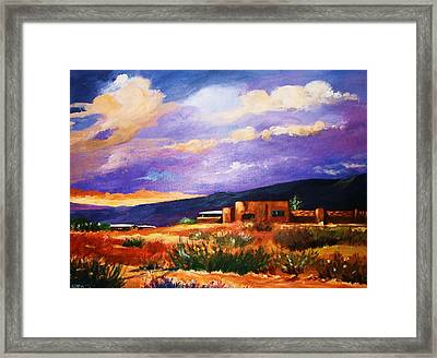 Framed Print featuring the painting The Orange Glow Of Sunset by Al Brown