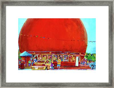 The Orange Julep Montreal Summer City Scene Framed Print by Carole Spandau