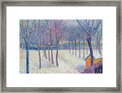The Orchard Under The Snow  Framed Print