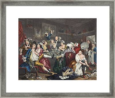 The Orgy, Plate IIi From A Rakes Framed Print by William Hogarth