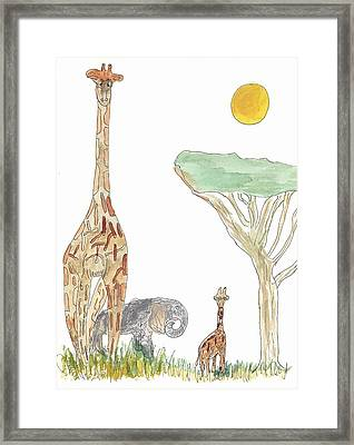 Framed Print featuring the painting The Elephant Orphan by Helen Holden-Gladsky