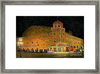 The Orpheum Theatre At Night In Phoenix Az In 1932 Framed Print by Dwight Goss