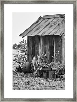 The Outhouse Bw Framed Print by Carolyn Marshall