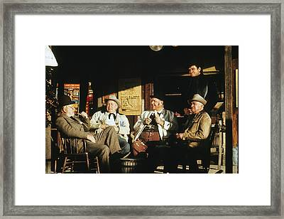 Framed Print featuring the photograph The Over The Hill Gang  Johnny Cash Porch Old Tucson Arizona 1971 by David Lee Guss